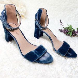 Madewell Lainy Blue Velvet Ankle Strap Heels